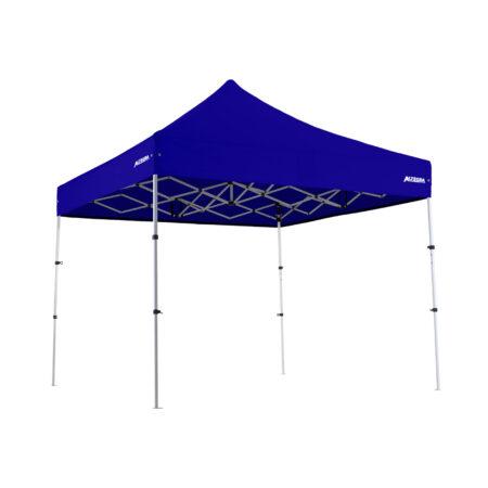 Altegra Premium Steel Compact 3x3m gazebo with Royal Blue UPF50+ canopy.