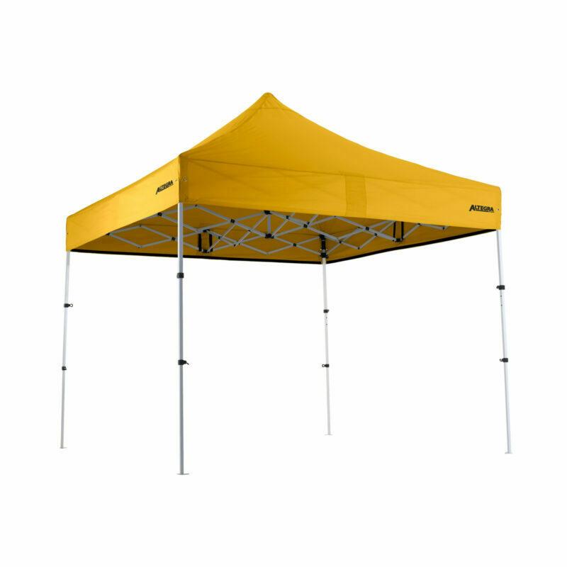 Altegra Premium Steel Compact 3x3m gazebo with Yellow UPF50+ canopy.