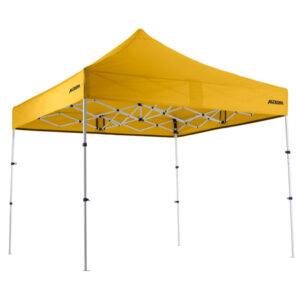 Altegra Premium Steel Compact 3x3m gazebo with Yellow UPF50+ canopy.