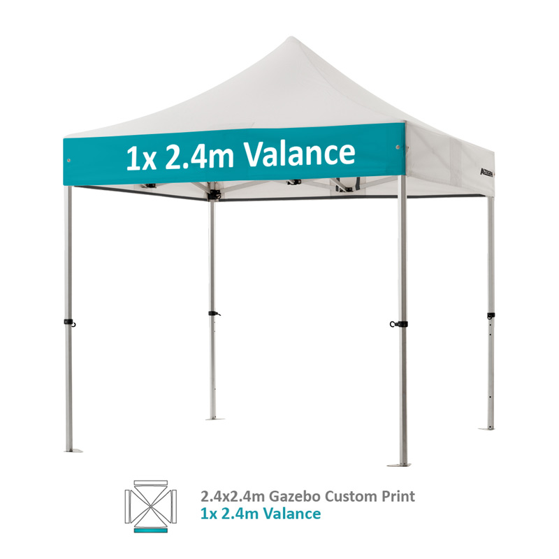 Altegra Pro Lite 2.4x2.4m gazebo with vivid custom printed canopy - 1x 2.4m Valance option.