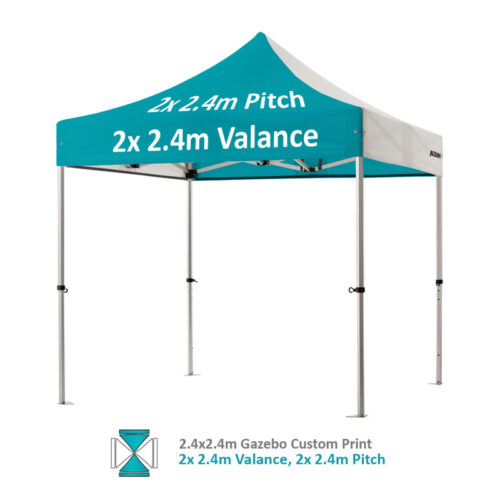 Altegra Pro Lite 2.4x2.4m gazebo with vivid custom printed canopy - 2x 2.4m Valance and 2x 2.4m pitch option.