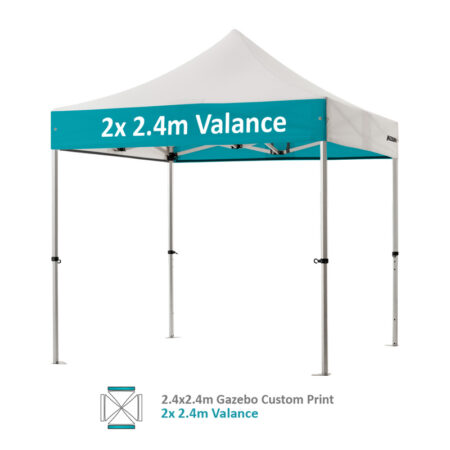 Altegra Pro Lite 2.4x2.4m gazebo with vivid custom printed canopy - 2x 2.4m Valance option.