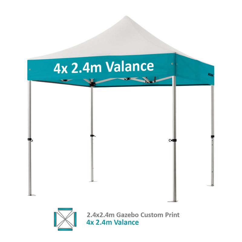 Altegra Pro Lite 2.4x2.4m gazebo with vivid custom printed canopy - 4x 2.4m Valance option.