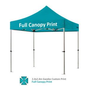 Altegra Pro Lite 2.4x2.4m gazebo with vivid custom printed canopy - full custom printed gazebo canopy option.