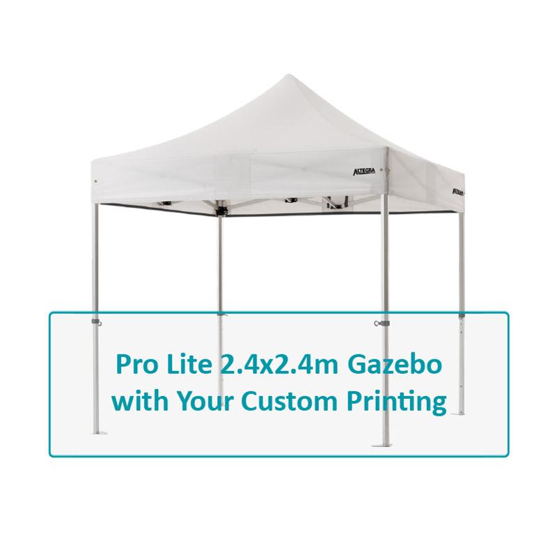 Altegra Pro Lite 2.4x2.4m custom printed aluminium gazebo