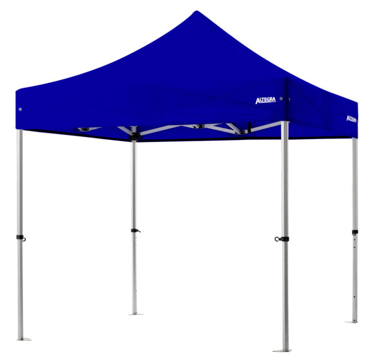 Altegra Pro Lite aluminium 2.4x2.4m gazebo with royal blue UPF50+ sun protection rated waterproof canopy - our lightweight Pro Lite 2.4m gazebo carries a Lifetime Warranty to keep you and your family safe for many years!