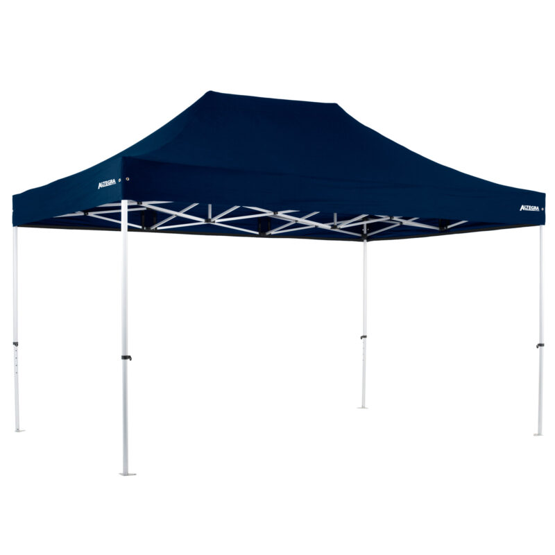 Altegra Pro Lite 3x4.5m aluminium gazebo with navy blue UPF50+ canopy - a 13.5m squared protected space with leading Australian safety standard compliance.