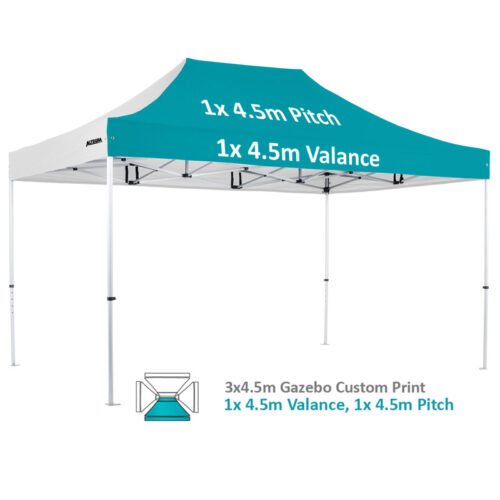 Altegra Pro Lite 3x4.5m advanced aluminium gazebo with custom printed UPF50+ canopy - our 1x4.5m valance and 1x4.5m pitch option.