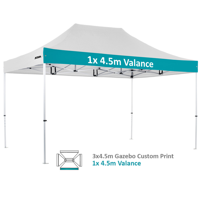 Altegra Pro Lite 3x4.5m advanced aluminium gazebo with custom printed UPF50+ canopy - our 1x4.5m valance option.