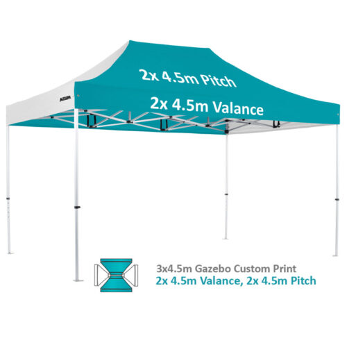 Altegra Pro Lite 3x4.5m advanced aluminium gazebo with custom printed UPF50+ canopy - our 2x4.5m valance and 2x4.5m pitch option.