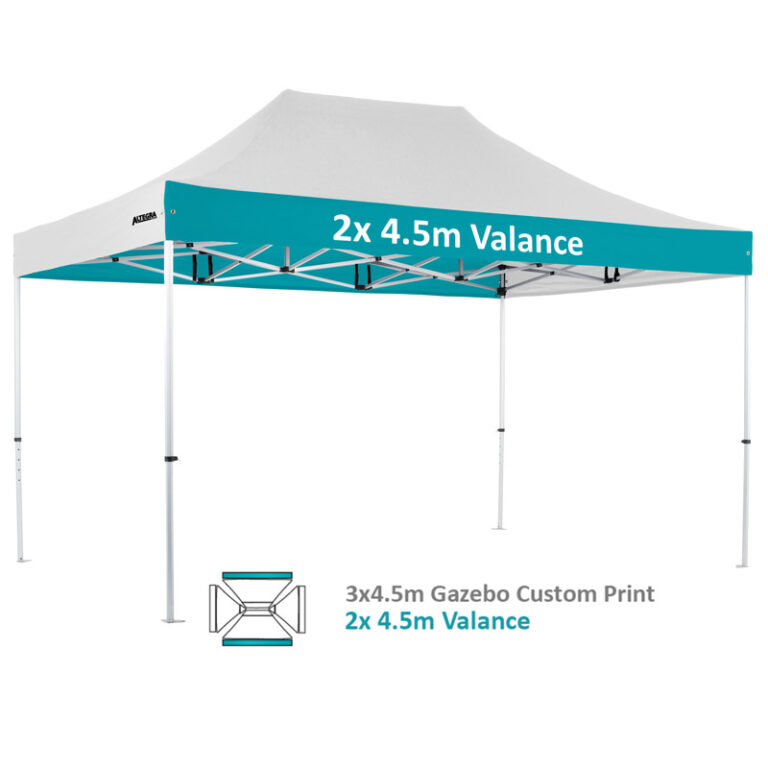 Altegra Pro Lite 3x4.5m advanced aluminium gazebo with custom printed UPF50+ canopy - our 2x4.5m valance custom print option.