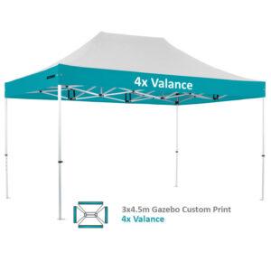 Altegra Pro Lite 3x4.5m advanced aluminium gazebo with custom printed UPF50+ canopy - our 4x custom valance print option.