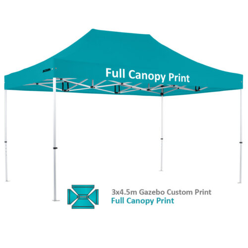 Altegra Pro Lite 3x4.5m advanced aluminium gazebo with custom printed UPF50+ canopy - our full custom print option. Nothing stand out like an Altegra custom printed gazebo.