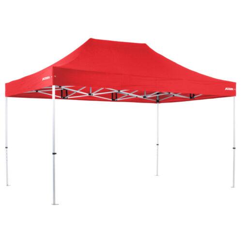 Altegra Pro Lite 3x4.5m lightweight aluminium gazebo with red UPF50+ canopy.