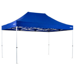 Altegra Pro Lite 3x4.5m lightweight aluminium gazebo with royal blue UPF50+ canopy.