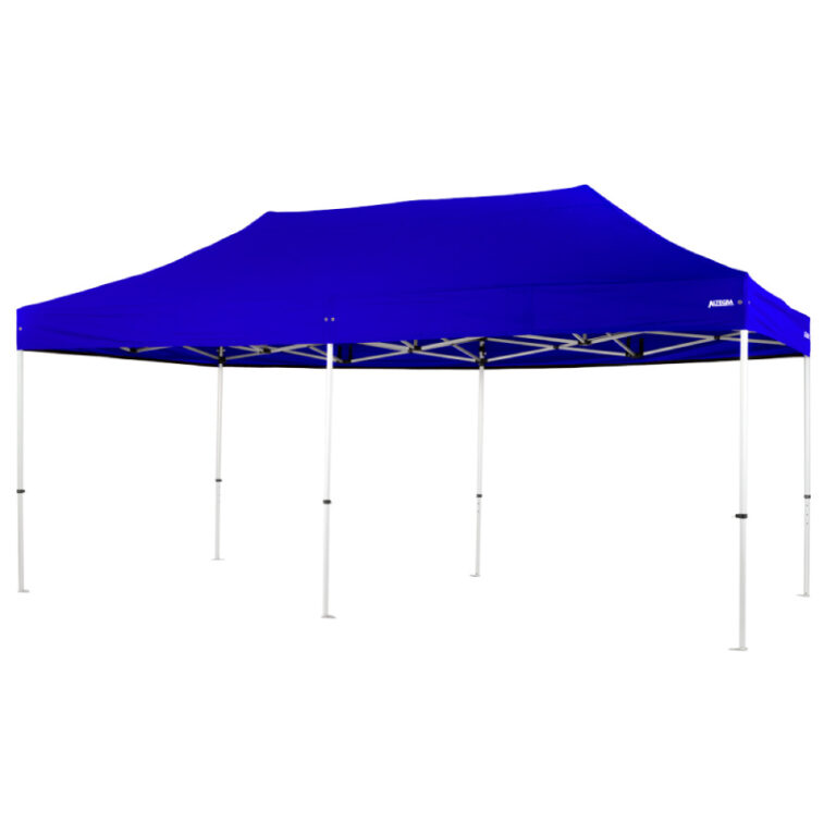 Altegra Pro Lite 3x6m folding event marquee for sale with Royal Blue UPF50+ canopy - the lightweight folding event marquee with full Australian event compliance.