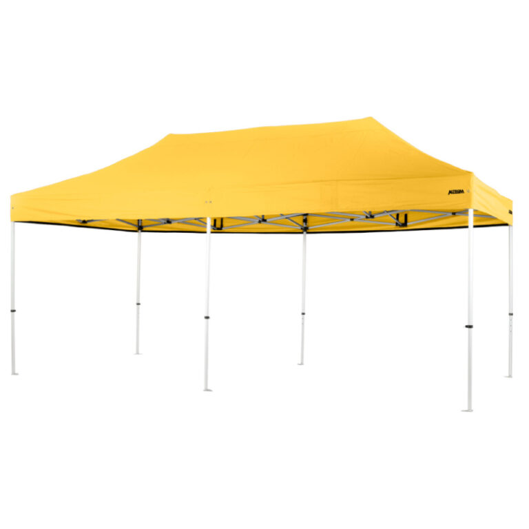 Altegra Pro Lite 3x6m folding marquee with Yellow UPF50+ canopy - the lightweight folding event marquee with full Australian event compliance.