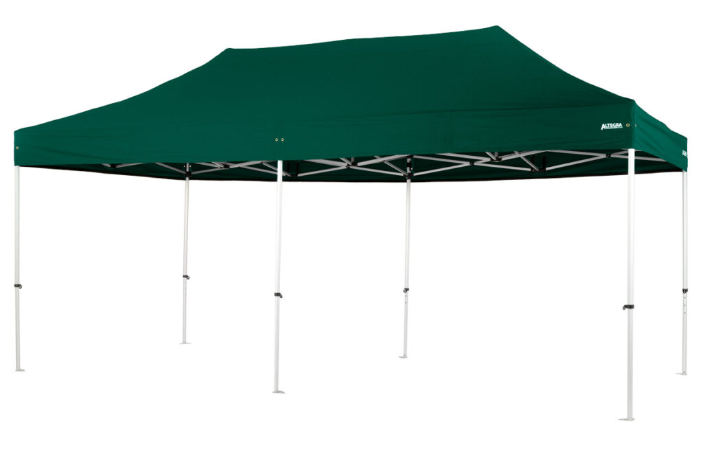 Altegra Pro Lite 3x6m marquee - a premium-quality light aluminium marquee with a 3m x 6m marquee span for complete protection. Shown with our stock green coloured UPF50+ canopy.