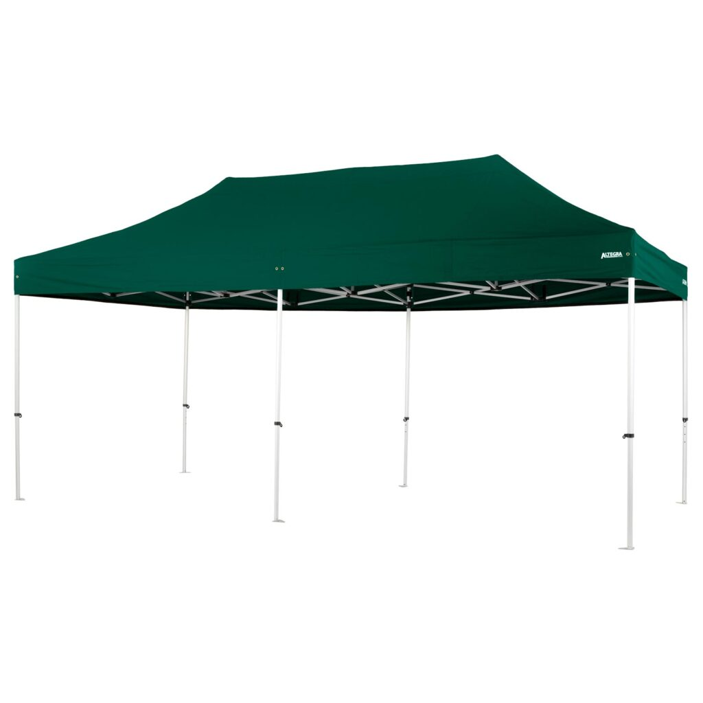 Altegra Pro Lite 3x6m marquee with green UPF50+ canopy - a lighter 3x6m event marquee.