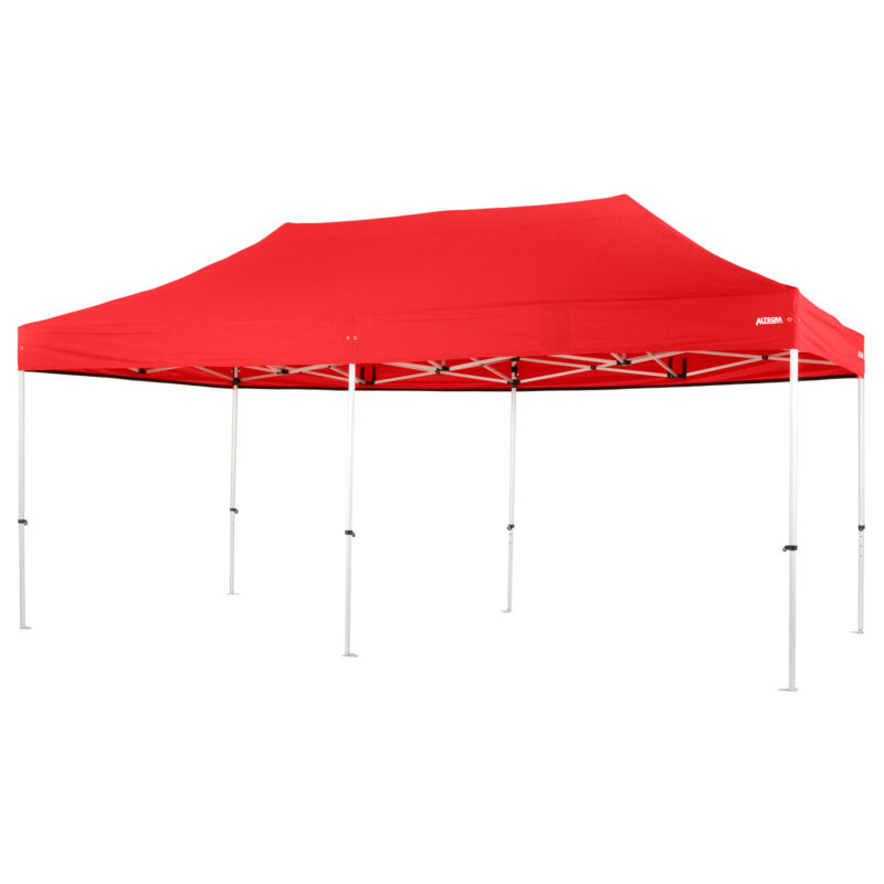 Altegra Pro Lite 3x6m marquee with red UPF50+ canopy - a lighter 3x6m event marquee.