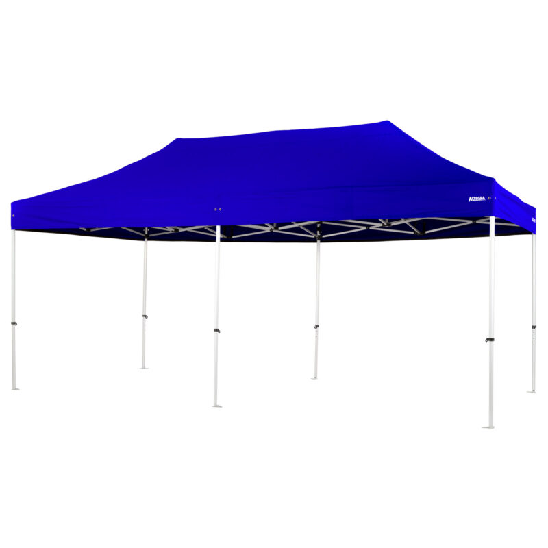 Altegra Pro Lite 3x6m marquee with royal blue UPF50+ canopy - a lighter 3x6m event marquee.