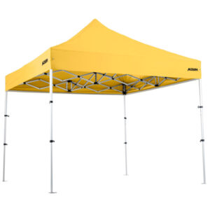 "Altegra Pro Lite ""Compact"" 3x3m lightweight gazebo with Yellow UPF50+ canopy - our international award winning advanced aluminium 3x3m gazebo that packs down to a tiny 93cm. The best compact gazebo in Australia."