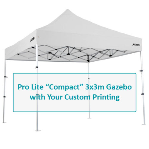 Altegra Pro Lite Compact 3x3m gazebo custom printing options image - select the canopy panels to customise with your branding on our UPF50+ Excellent canopy.