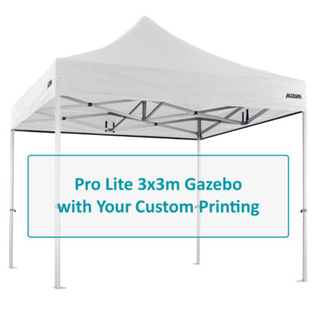 Altegra Pro Lite 3x3m gazebo with custom printing options image - selected panels of the UPF50+ canopy to be customised with your selection of designs and endless colours.