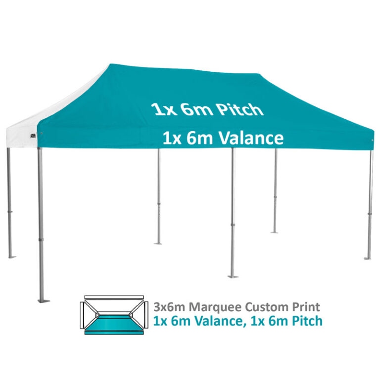 Altegra Heavy Duty 3x6m Folding Marquee with custom printed UPF50+ canopy image - 1x 6m Valance and 1x 6m pitch custom printed panels.