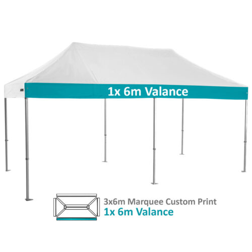 Altegra Heavy Duty 3x6m Folding Marquee with custom printed UPF50+ canopy image - 1x 6m Valance custom printed panel.