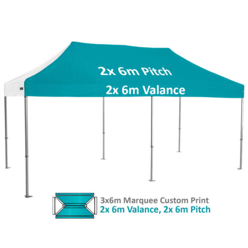 Altegra Heavy Duty 3x6m Folding Marquee with custom printed UPF50+ canopy image - 2x 6m Valance and 2x 6m pitch custom printed panels.