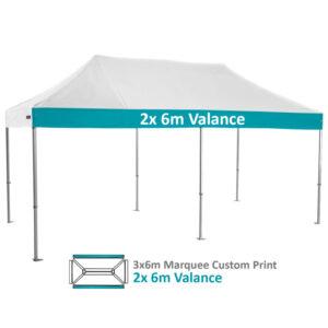 Altegra Heavy Duty 3x6m Folding Marquee with custom printed UPF50+ canopy image - 2x 6m Valance custom printed panels.