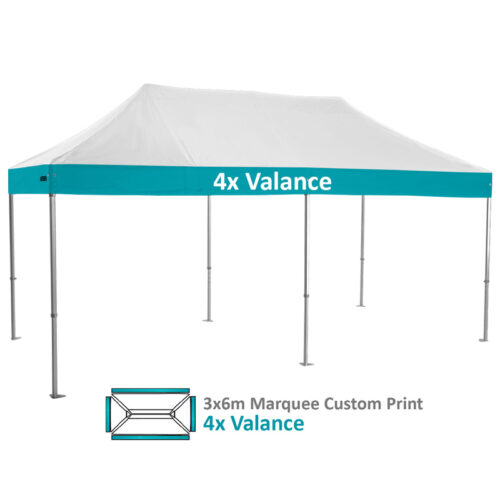 Altegra Heavy Duty 3x6m Folding Marquee with custom printed UPF50+ canopy image - 4x Valance custom printed panels.