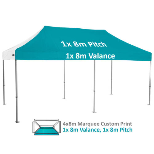 Altegra Heavy Duty 4x8m Folding Marquee with custom printed UPF50+ canopy image - 1x 8m Valance and 1x 8m pitch custom print.