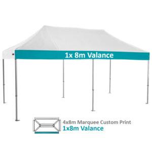 Altegra Heavy Duty 4x8m Folding Marquee with custom printed UPF50+ canopy image - 1x 8m Valance custom printed.