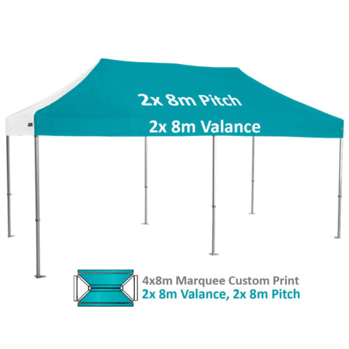 Altegra Heavy Duty 4x8m Folding Marquee with custom printed UPF50+ canopy image - 2x 8m Valance and 2x 8m Pitch custom printed.