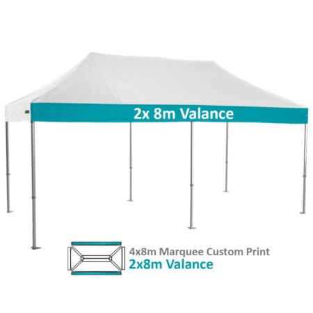 Altegra Heavy Duty 4x8m Folding Marquee with custom printed UPF50+ canopy image - 2x 8m Valance custom printed.