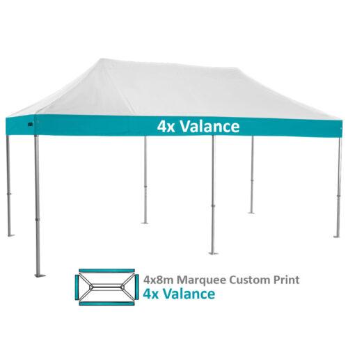 Altegra Heavy Duty 4x8m Folding Marquee with custom printed UPF50+ canopy image - 4x Valances custom printed.