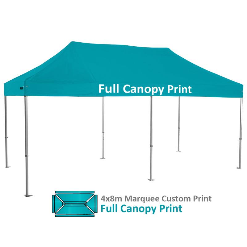 Altegra Heavy Duty 4x8m Folding Marquee with custom printed UPF50+ canopy image - Full canopy custom printed.