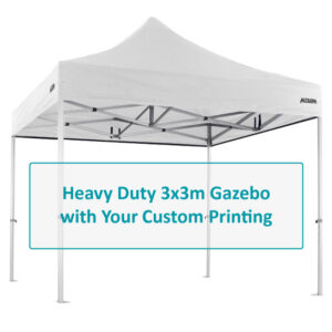 Altegra Heavy Duty 3x3m gazebo with custom printing options image - selected panels of the UPF50+ canopy to be customised with your selection of designs and endless colours.