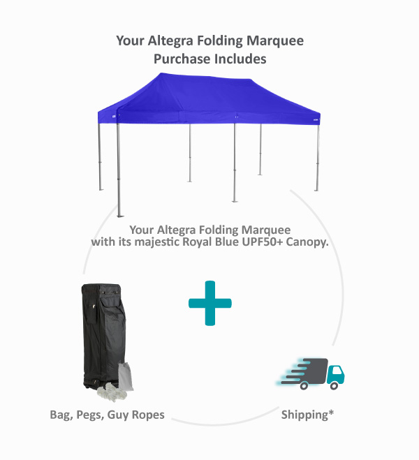 Altegra 4x4m and 4x8m folding marquee purchase inclusion image - We include your Altegra folding marquee with its premium-quality UPF50+ canopy in majestic Royal Blue, a wheeled carry bag, guy ropes & pegs, as well as free shipping in your Altegra folding marquee purchase.