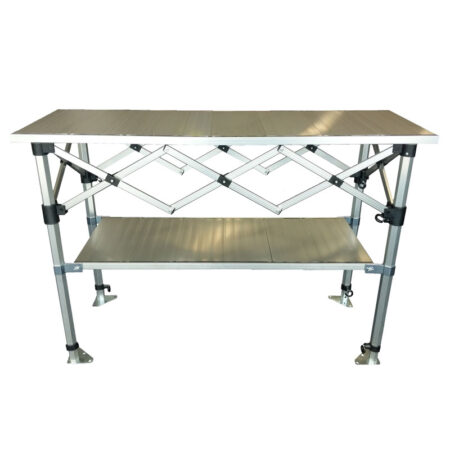 Altegra Aluminium 1.5m Folding Table with shelf - the packable, hugely robust and extremely versatile folding table by Altegra in our small 1.5m foldable table size. Heatproof, easy to clean, packs smaller than the rest, and looks great. Store more with the added shelf, nestled neatly underneath and height adjustable.