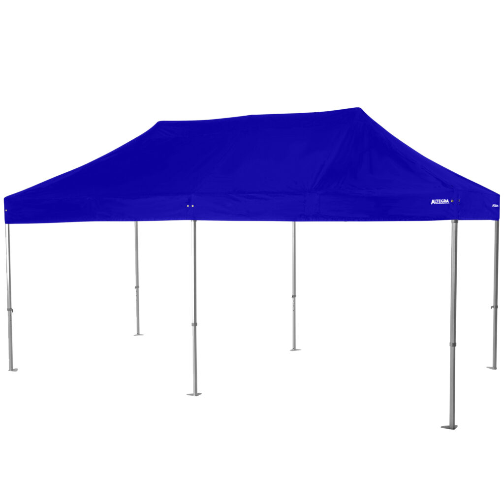 Altegra Heavy Duty 4x8m Marquee with royal blue canopy - our HUGE folding event marquee to reliably cover events of up to 50 people.
