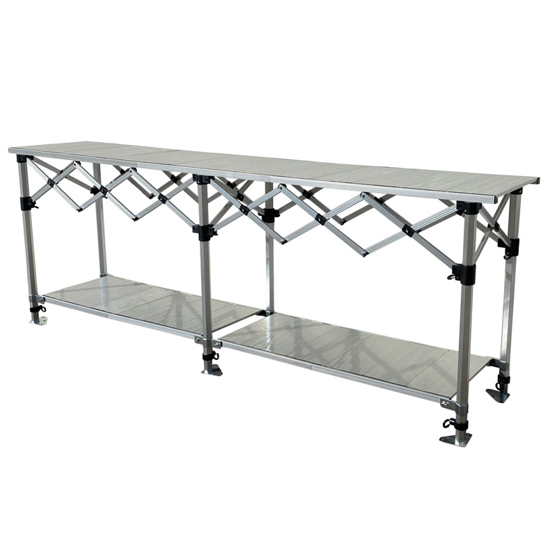 Altegra Aluminium 3m Foldable Table with shelves - the packable, hugely robust and extremely versatile folding table by Altegra in our 3m foldable table size - the perfect fit for your 3x3m gazebo. Heatproof, easy to clean, packs smaller than the rest, and looks great. Store more with the added shelves, nestled neatly underneath and height adjustable.