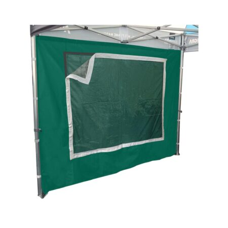 Altegra 3m PVC Clear Window cover attached to a green gazebo window wall - a clear PVC widow attachment for sealing out the weather, attaches to the Velcro strip on the inside of 3m window walls.