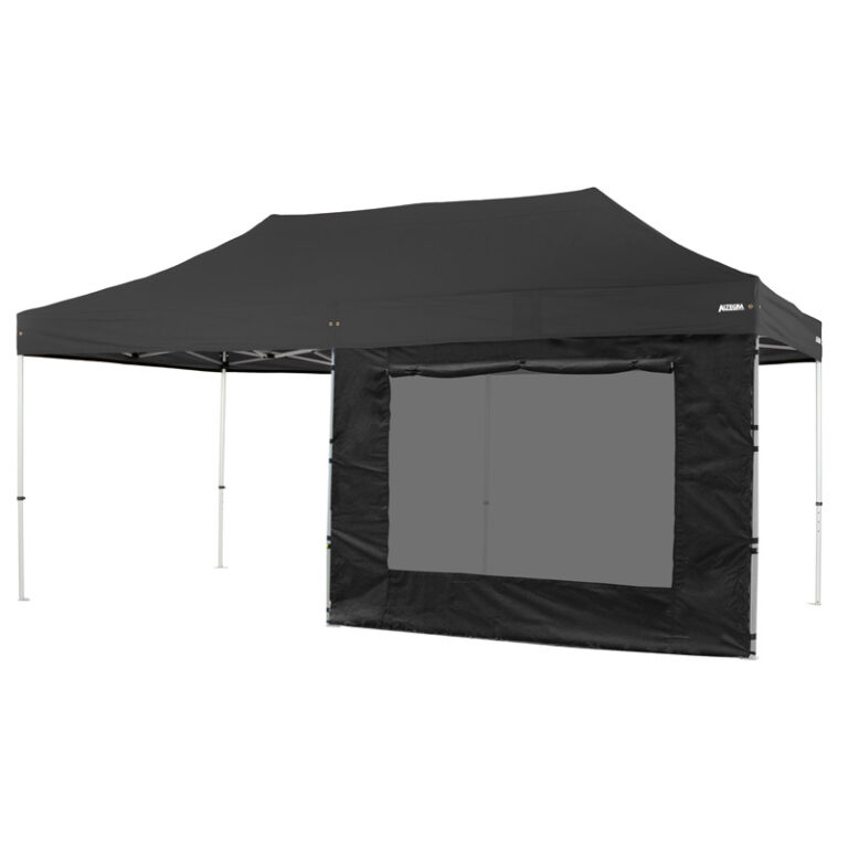 Altegra 3x6m marquee window wall in black - our 3m window wall attached to the 3x6m marquee with our full-length Velcro connection. UPF50+ sun protection, 100% waterproof, and rollup window cover.
