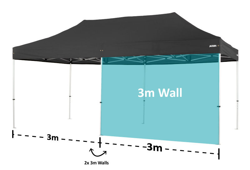 Altegra 3x6m marquee image displaying the 3 metre wall panel section for 3m wall compatibility.