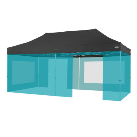 Altegra 3x6m Marquee wall kit image - our complete bundle of 6x 3m walls to thoroughly seal out the weather - 2x 3m window walls, 2x 3m solid walls, and 2x 3m door walls. All UPF50+ Excellent sun protection and 100% waterproof.