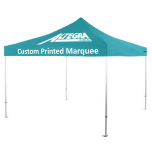 Altegra Heavy Duty 4x4m custom printed event marquee - our 16m^2 square event marquee with options to custom print the entire canopy with your logo and colours or brand.