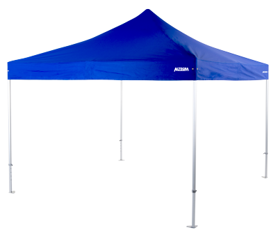 Altegra 4x4m Heavy Duty event marquee with royal blue canopy - a wide-span pop up marquee for events.